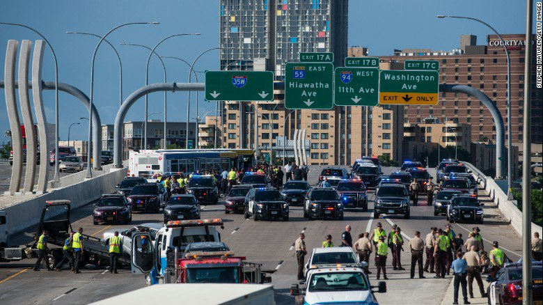 Protesters shut down a Minneapolis freeway during rush hour today