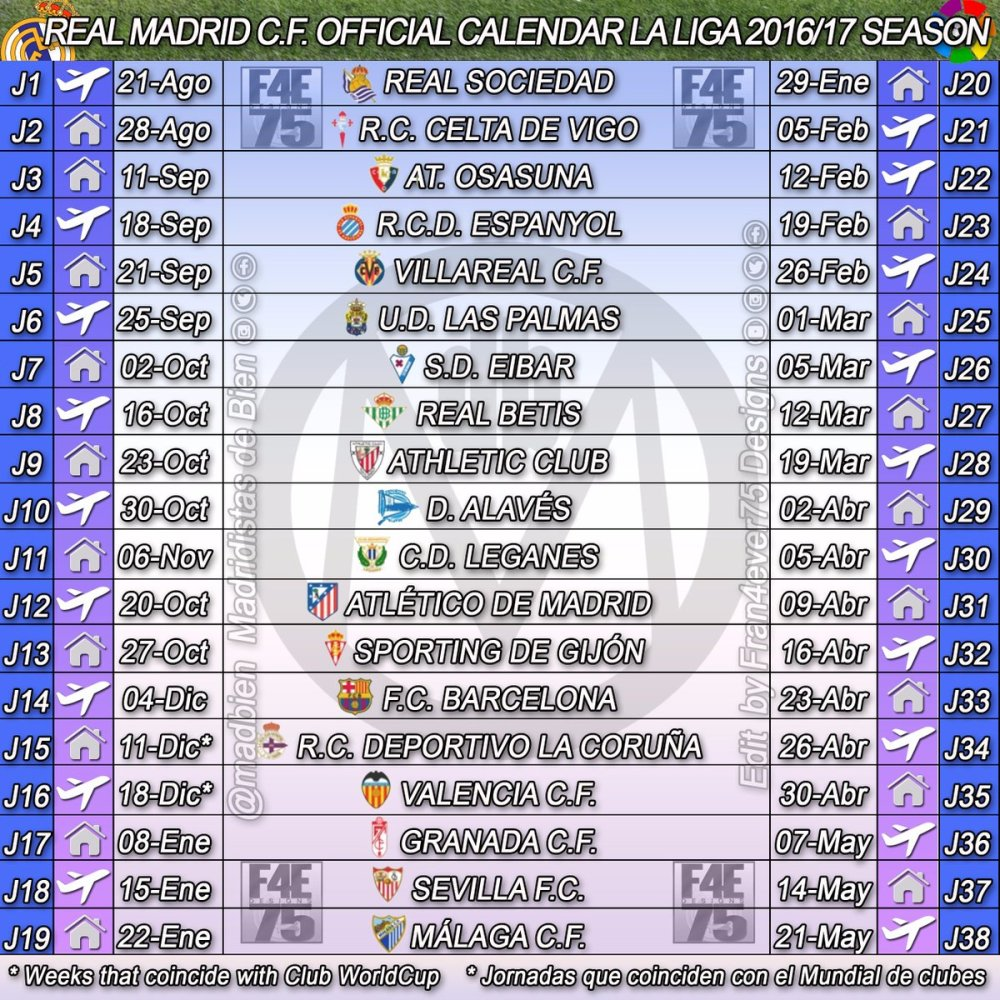 Calendario Del Real.Todo El Calendario Oficial Del Real Madrid Para Laliga 16