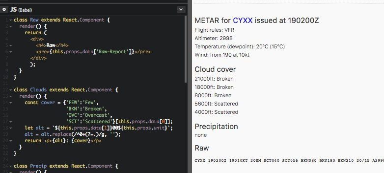 Fun with #metar humanization #reactjs and a free API. To be continued with some #dataviz