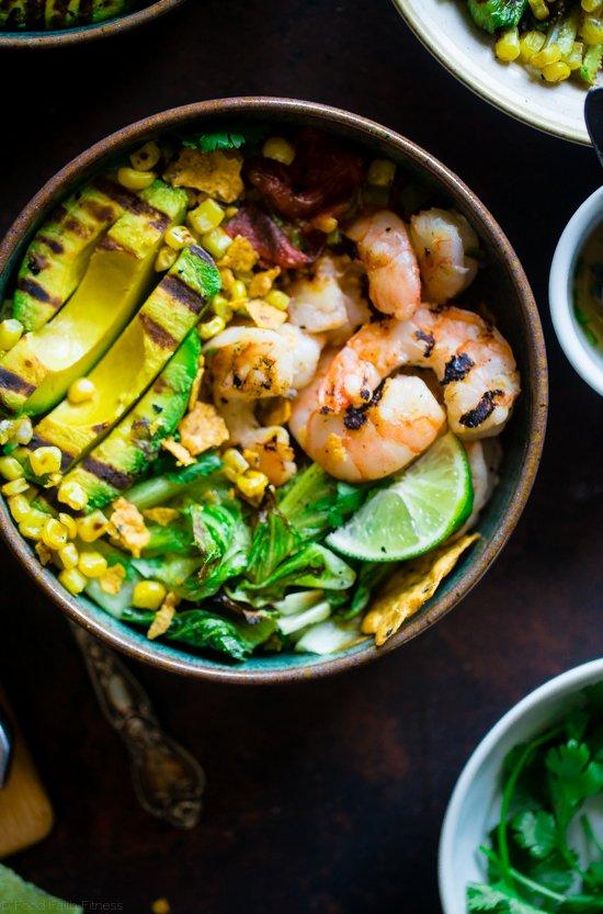 New!>> Honey Lime Grilled Avocado Shrimp Nacho Bowls!