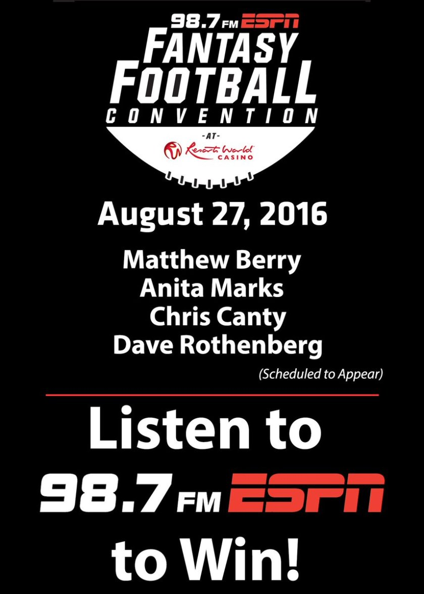 LISTEN TO WIN tickets to the 98.7 FM Fantasy Football Convention with @MatthewBerryTMR