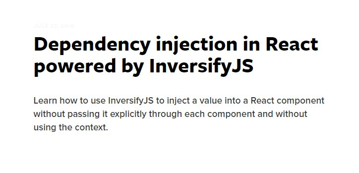 Dependency injection in #reactjs powered #InversifyJS  #mobx #redux