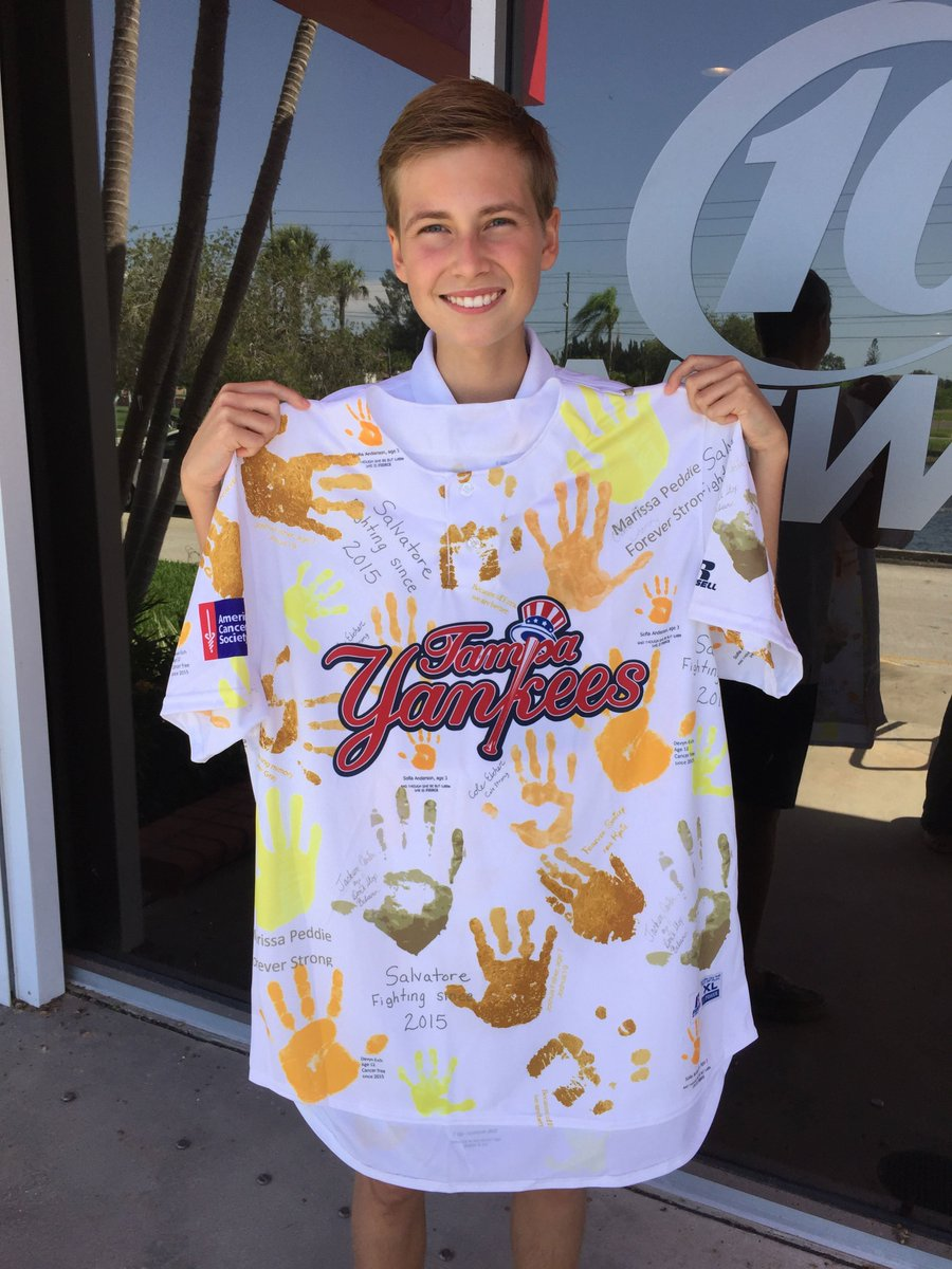 Tampa Yankees jerseys to raise money for cancer research.  @TampaYankees @AmericanCancer