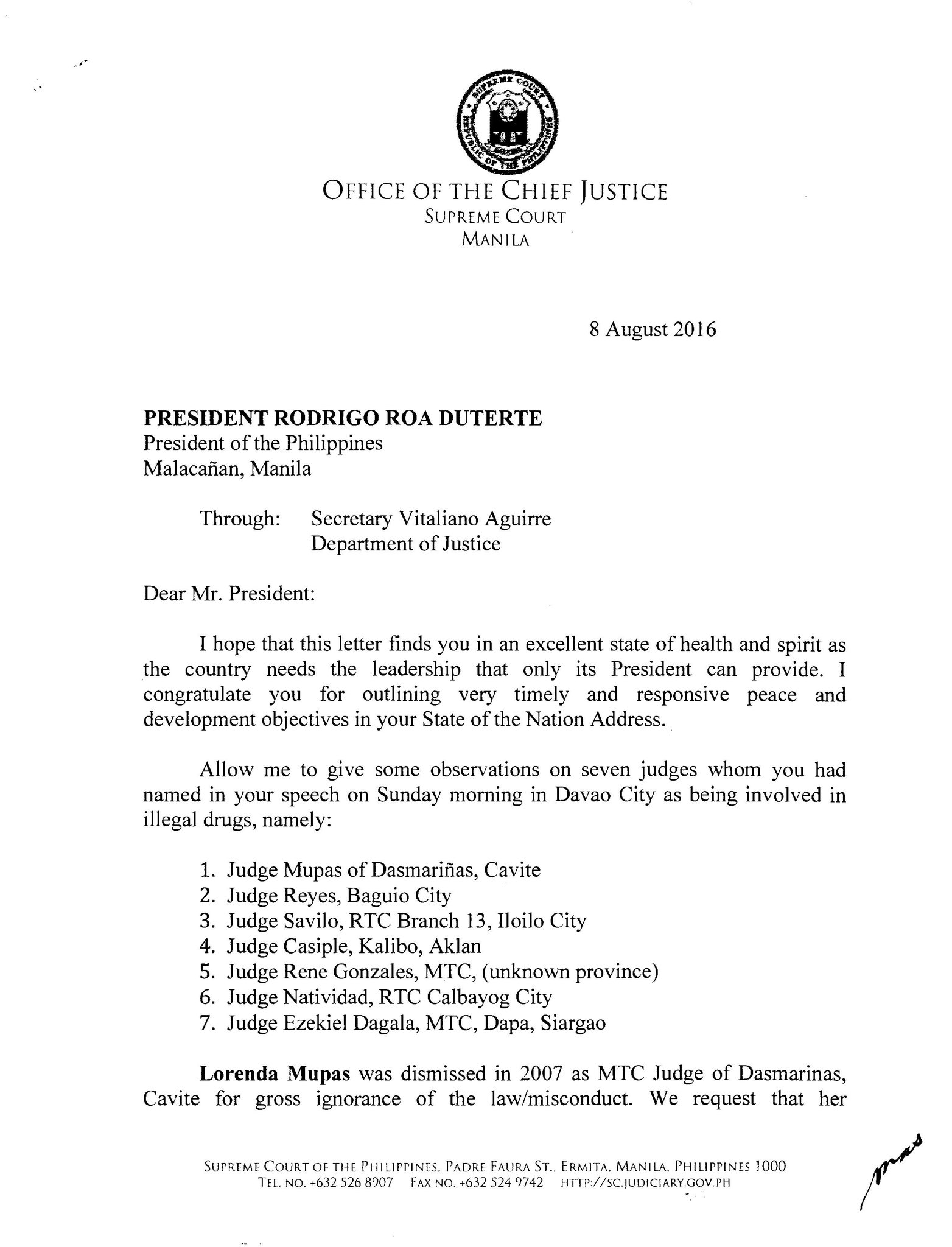 "Inquirer On Twitter ""READ SC CJ Sereno's Letter To Pres"