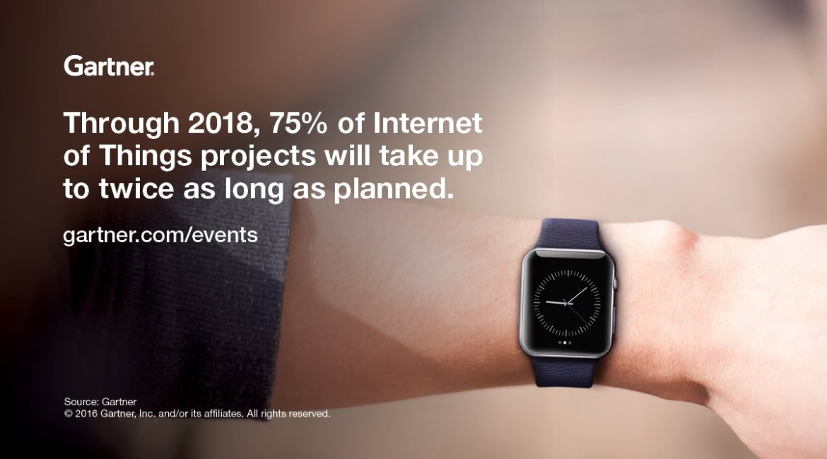 Through 2018, 75% of #IoT projects will take up to twice as long as planned. 💡  #GartnerSYM
