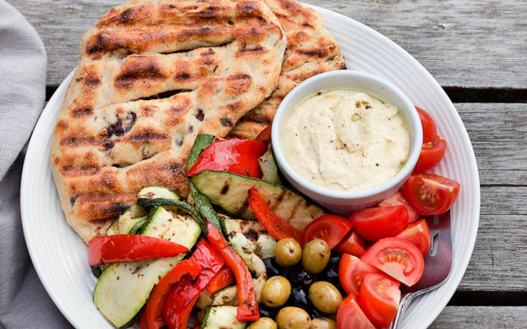 Grilled Vegetable, Olive Flatbread, and Hummus Plate [Vegan]