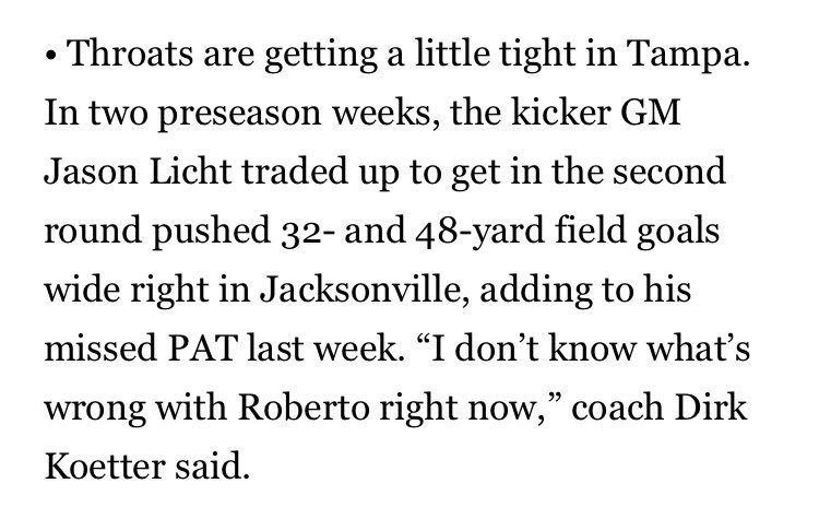 Bucs' Roberto Aguayo struggling with kicks gets a mention in @theMMQB from @SI_PeterKing ...