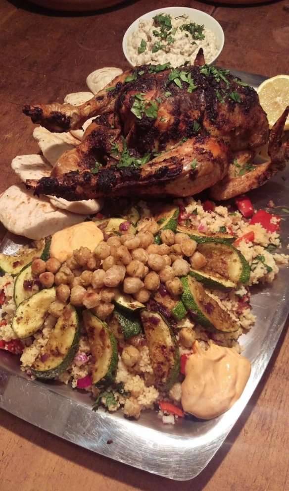 Middle Eastern Sunday Roast Chicken Platter. Deliciously different :�