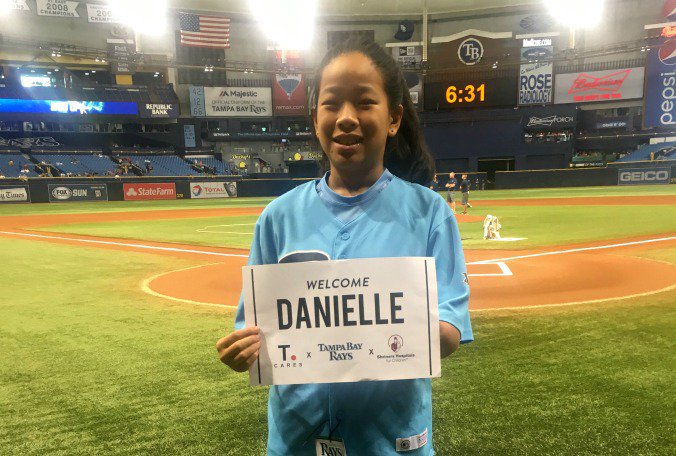 11-year-old gold medalist throws 1st pitch at @RaysBaseball game #goodnews  @SaundraONTV