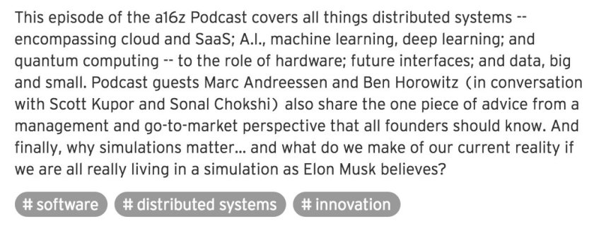 This @a16z podcast ep with @pmarca and @bhorowitz is 👌. #ai #machinelearning #datascience