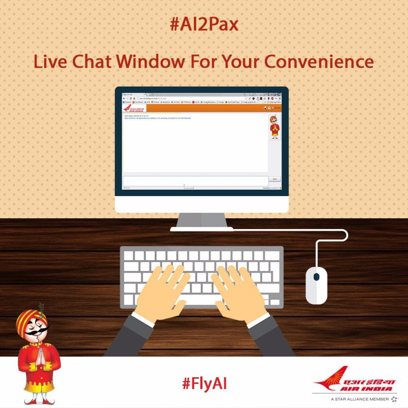 #AI2Pax: Address any query to #AI's customer care executive through #LiveChat window. Visit .
