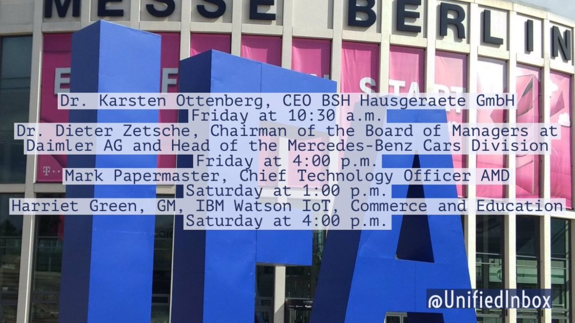 What's 🔥 at #IFA16? #IoT! #Keynotes from #BSH, #Daimler, #AMD, and #IBMWatson - . 🇩🇪 #IFA2016