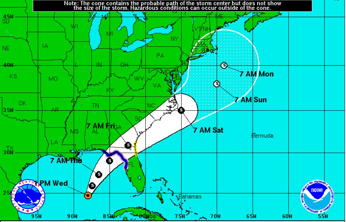 Tropical Storm #Hermine expected to make landfall on Thursday in NW Florida  #tbttropical
