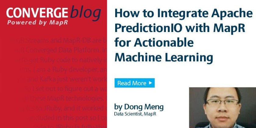 Integrate  w/ @MapR for Actionable #MachineLearning:  #DataScience #AI