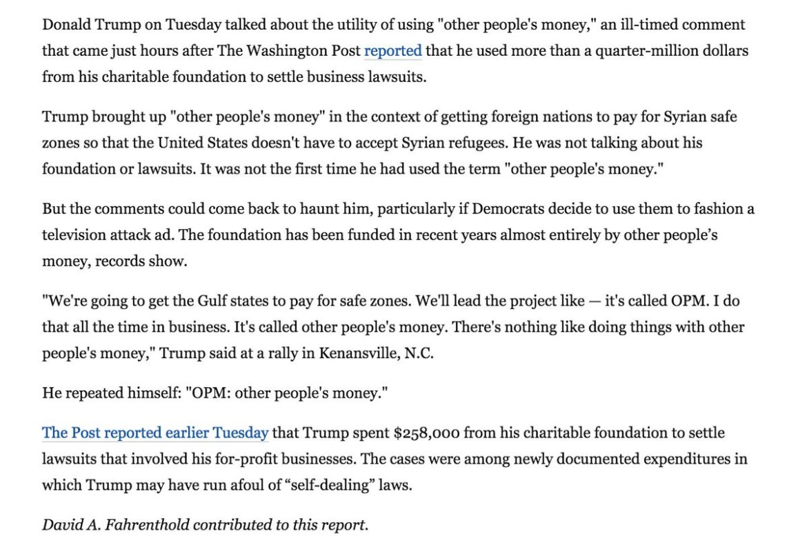 Via @WaPoSean: Trump brags about using 'other people's money' in another context