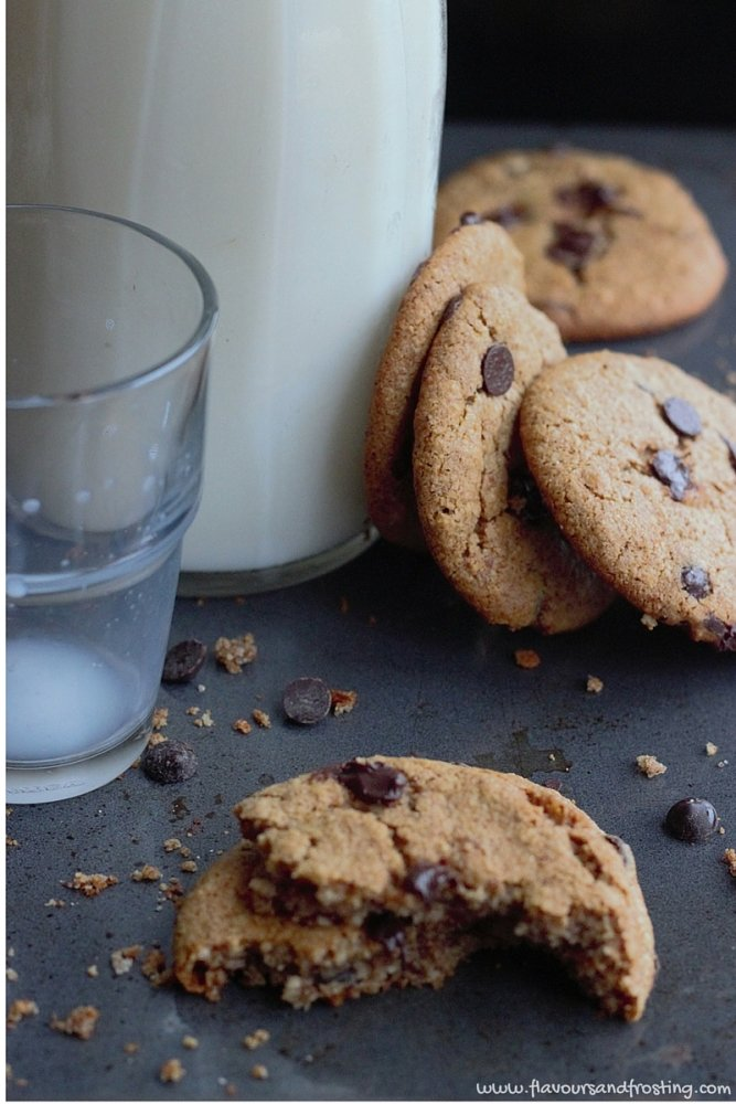 Gluten Free chocolate chip cookie made with homemade almond