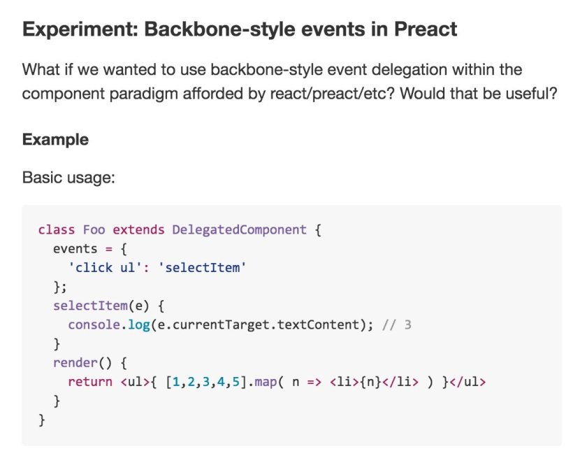 What would Backbone-style event delegation look like in preact/#reactjs?  /cc @matthewcp