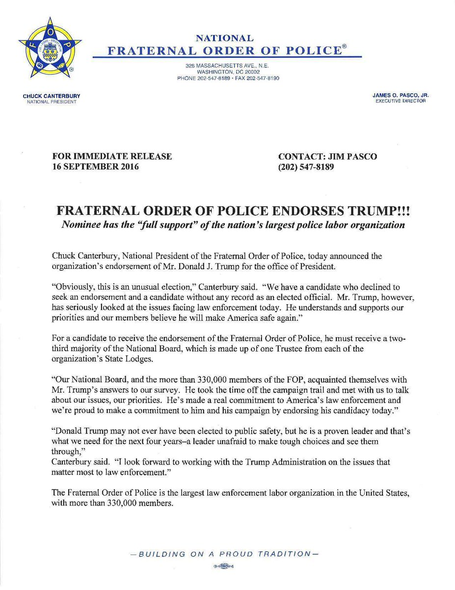 Nation's Largest Police Union Endorses Trump