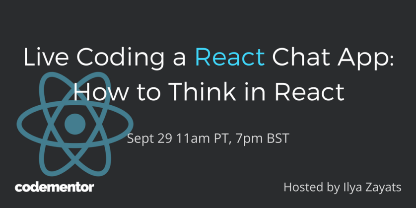 RSVP for a #livecoding event on 9/28: live coding a #reactjs chat app!