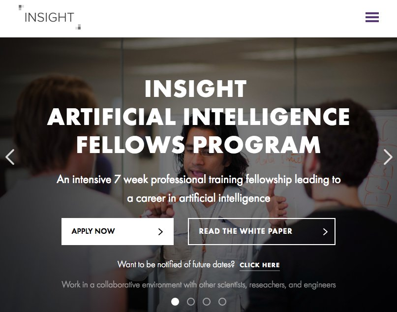 Announcing the Insight Artificial Intelligence Fellows Program in Silicon Valley & NYC