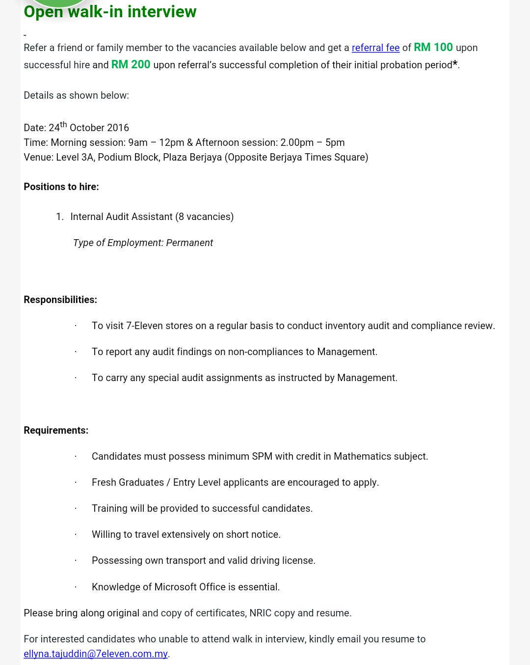 """H a r i t H on Twitter: """"Open walk-in interview at 7-Eleven Malaysia ..."""