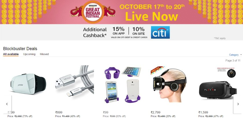 Deal: Best offers on smartphones, #vr gears, and more from #amazon Great Indian Festival