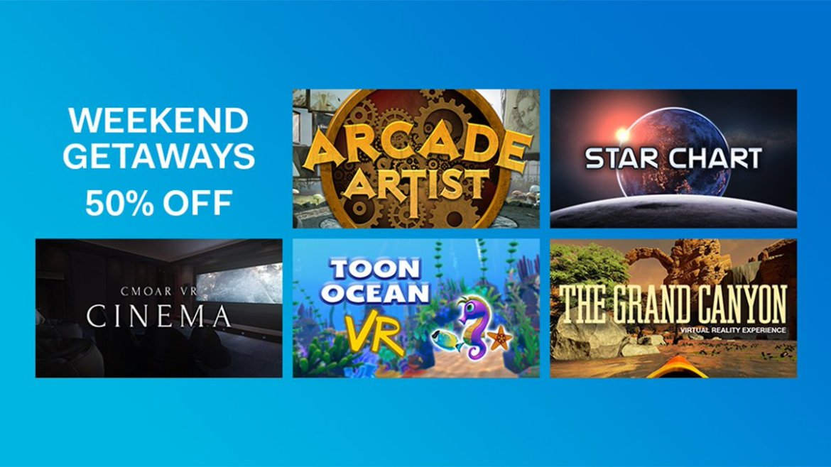 Need to get away in #VR? 5 apps are 50% off this weekend on #Viveport: