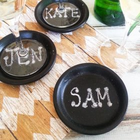 Easy DIY Chalkboard Coasters Tutorial chalkboardpaintSee it here>>