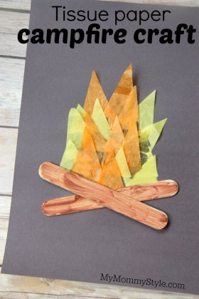 Tissue paper campfire craftdiy kids camping mymommystyle