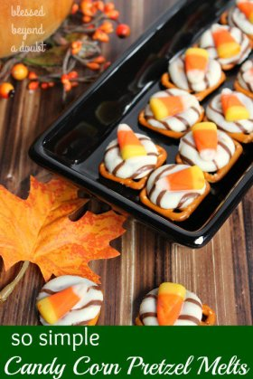 Super Simple and festive Candy Corn Pretzels Melts! ://