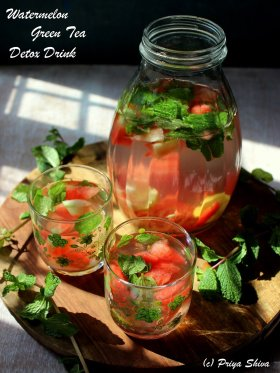 Chilled Watermelon Minty green tea which works like detox! - ://