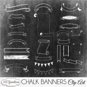 Chalk Banners Clip Arts