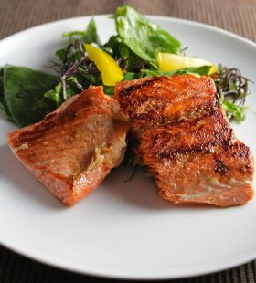 A go-to in our house! >> Simple Pan Seared Salmon with Ginger Soy Marinade