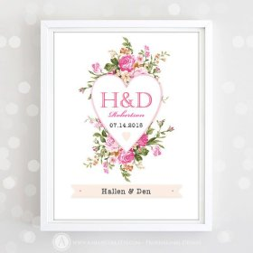 Printable Monogram Print Personalized Wedding Date Name Pink.. DIY InstantDownload