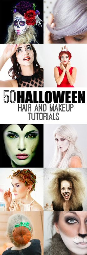 50 HALLOWEEN HAIR AND MAKEUP TUTORIALS Halloween makeup MakeupTutorial