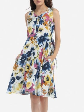 Round Neck Cotton Assorted Colors Floral Printed Skater-dress fashion