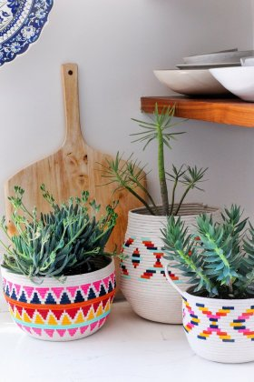 DIY Painted Rope Basket - Crafts DiyIdeas Planter