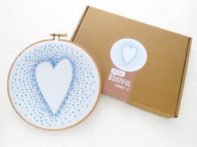 Love Heart Embroidery Kit, Blue French Knots Hand Embroidery. needlecraft crafts gift