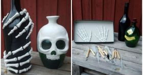Make these DIY skeleton bottles for Halloween DIY