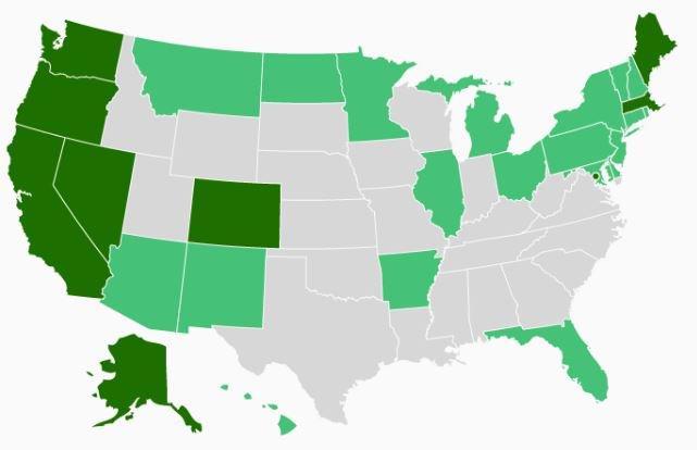 All the US states where you are now free to smoke marijuana