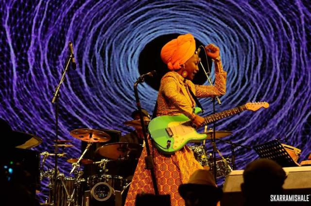 Fatoumata Diawara performing at Safaricom Jazz. Photo credit - Skarra Mishale - Image from https://twitter.com/smusyoka/status/795192243296550912