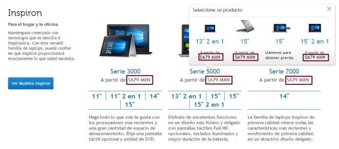 Precio de las computadoras Dell