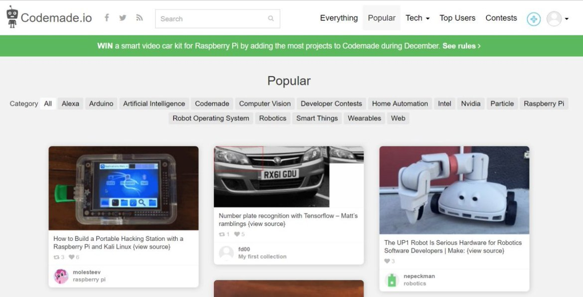 CodeMade.io is a place to find open-source Internet of Things Inspiration