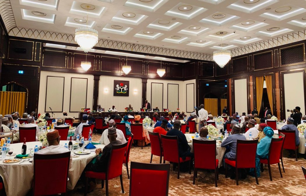 D01tBc9XQAAUGr0 - Buhari Hosts Campaign Council To A Presidential Dinner(Photo)