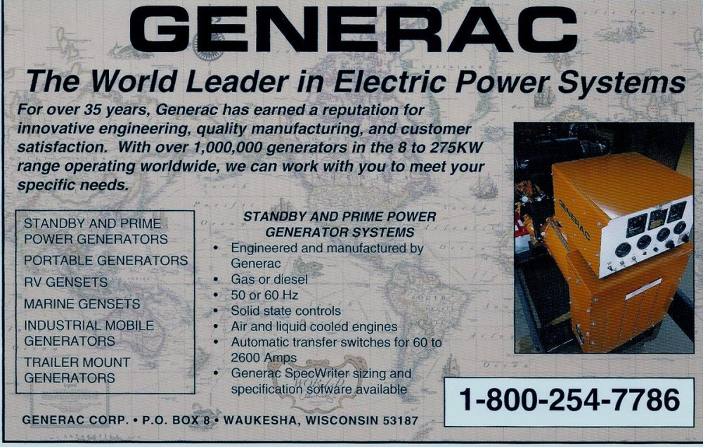 medium resolution of this ad from 1993 highlights our industrial generator offerings back then our units went up to 275 kw today it s 2 mw