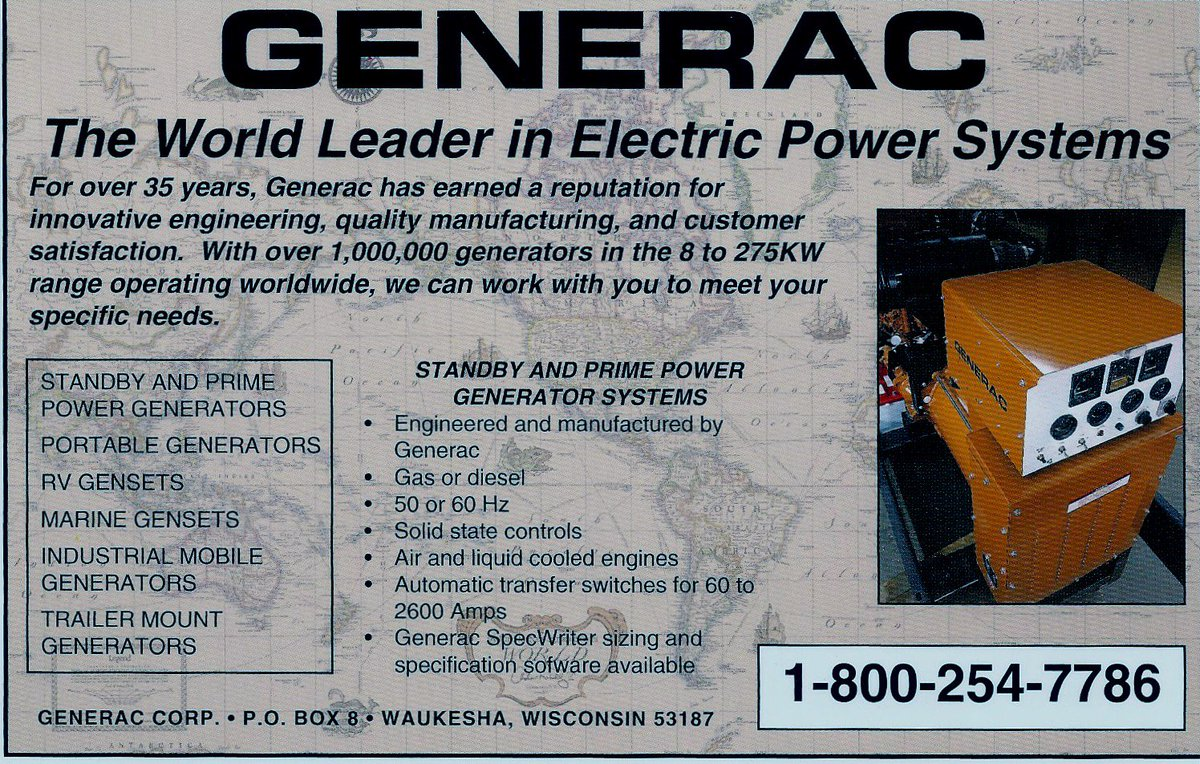 hight resolution of this ad from 1993 highlights our industrial generator offerings back then our units went up to 275 kw today it s 2 mw