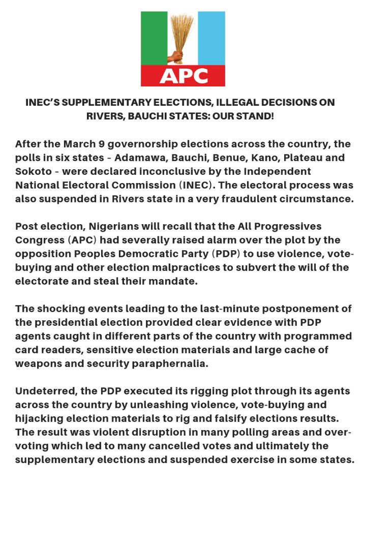 """D14cwUGX0AEltLM - 2019 Election: INEC'S Decision On Bauchi And Rivers Is """"Illegal"""" – APC"""