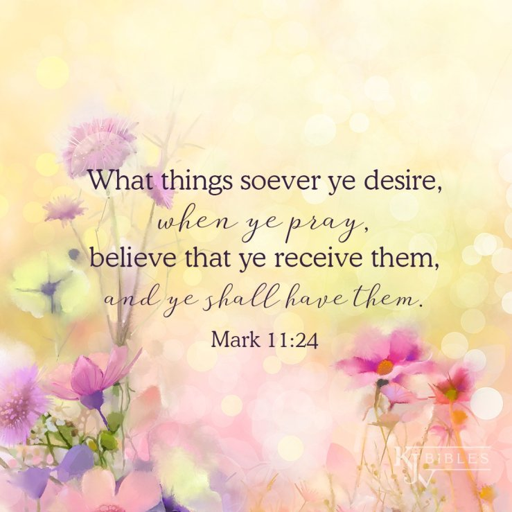 "KJV Bibles Store on Twitter: """"What things soever ye desire, when ye pray,  believe that ye receive them, and ye shall have them."" Mark 11:24 . . . . .  #kjvbible #kjvscripture #"