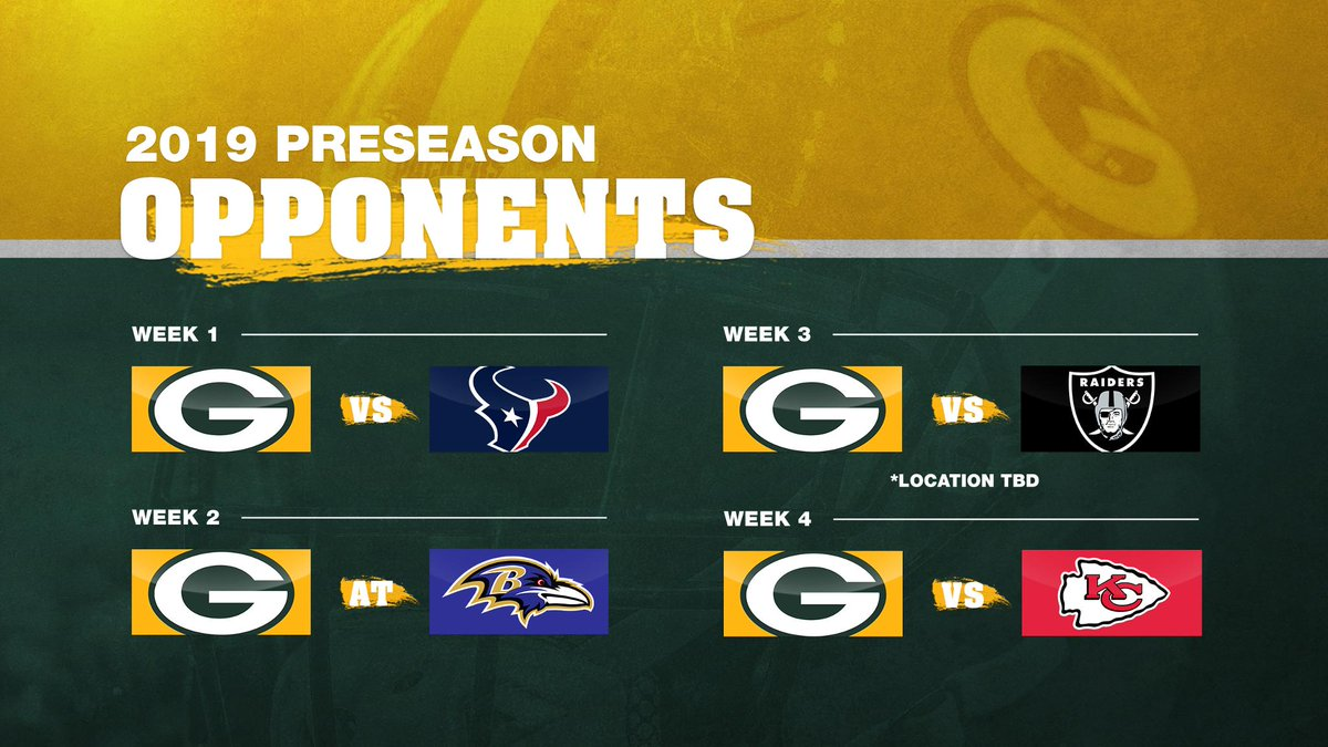hight resolution of our 2019 preseason opponents are set gopackgo