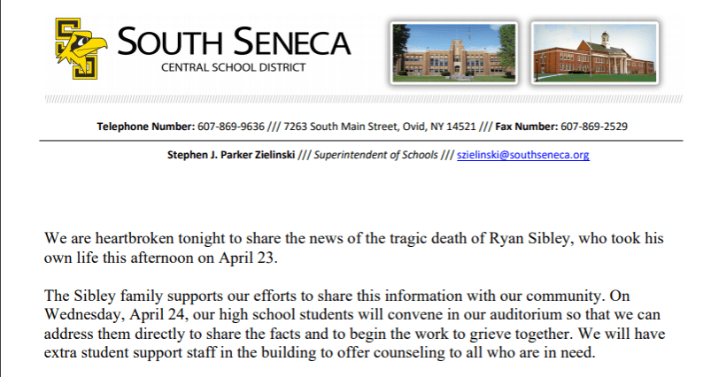 South Seneca Central School District mourning loss of